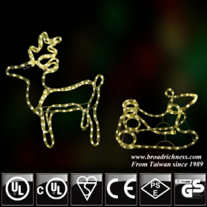 3D Reindeer with Sledge with LED Rope Light