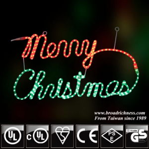 2D Incandescent Rope light Merry Christmas Sign
