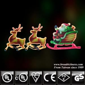 2D Incandescent Rope Motif Light With Acrylic Santa Claus Deer Christmas Light