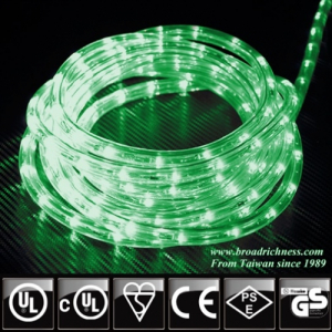 Green LED Rope Light, 2-Wire, 1/2''(3/8''), 120 Volt