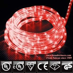 Red LED Rope Light, 2-Wire, 1/2''(3/8''), 120 Volt