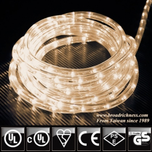 Warm White LED Rope Light, 2-Wire, 1/2''(3/8''), 120 Volt