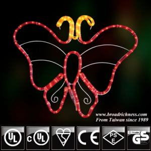 2D Incandescent Rope Light Butterfly