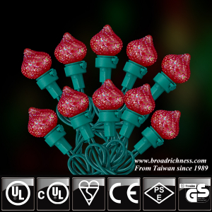 25CT/35CT/50CT G25 Glass Strawberry Iridescent Crystal LED Christmas String Lights