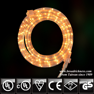 18FT Clear Incandescent Rope Light, 2-Wire, 1/2''(3/8''), 120 Volt, UL Approved