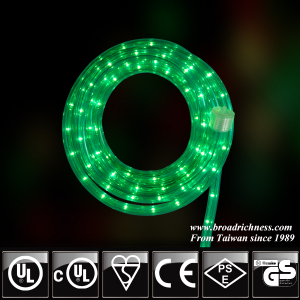 18FT Green Incandescent Rope Light, 2-Wire, 1/2''(3/8''), 120 Volt, UL Approved
