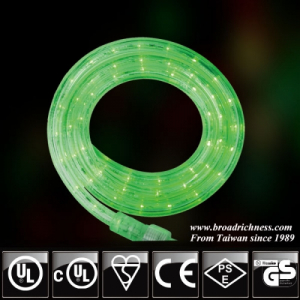 18FT Green LED Rope Light, 2-wire, 1/2''(3/8''), 120 Volt