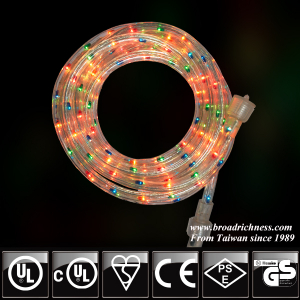 18FT Multi-color Incandescent Rope Light, 2-Wire, 1/2''(3/8''), 120 Volt, UL Approved
