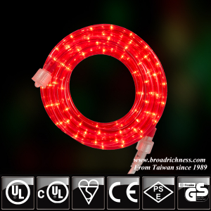 18FT Red Incandescent Rope Light, 2-Wire, 1/2''(3/8''), 120 Volt, UL Approved