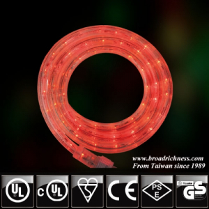 18FT Red LED Rope Light, 2-Wire, 1/2''(3/8''), 120 Volt