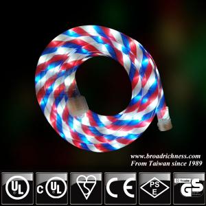 18FT Red White Blue LED Rope Light, 2-Wire, 1/2''(3/8''), 120 Volt